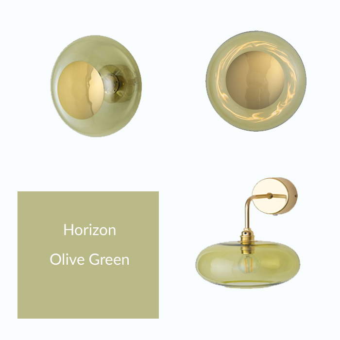 Olive green glass wall light with Gold Metal