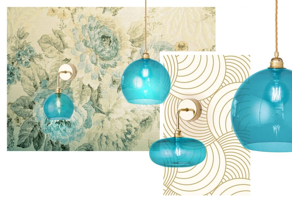 Horizon Modern Wall Light in Angry Sea Blue Glass & Gold