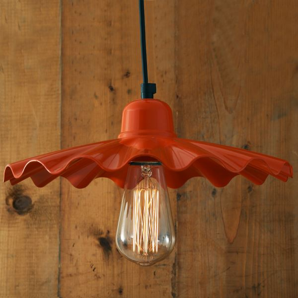 Ardle metal Bright Orange Frilled Shade with Vintage Filament bulb