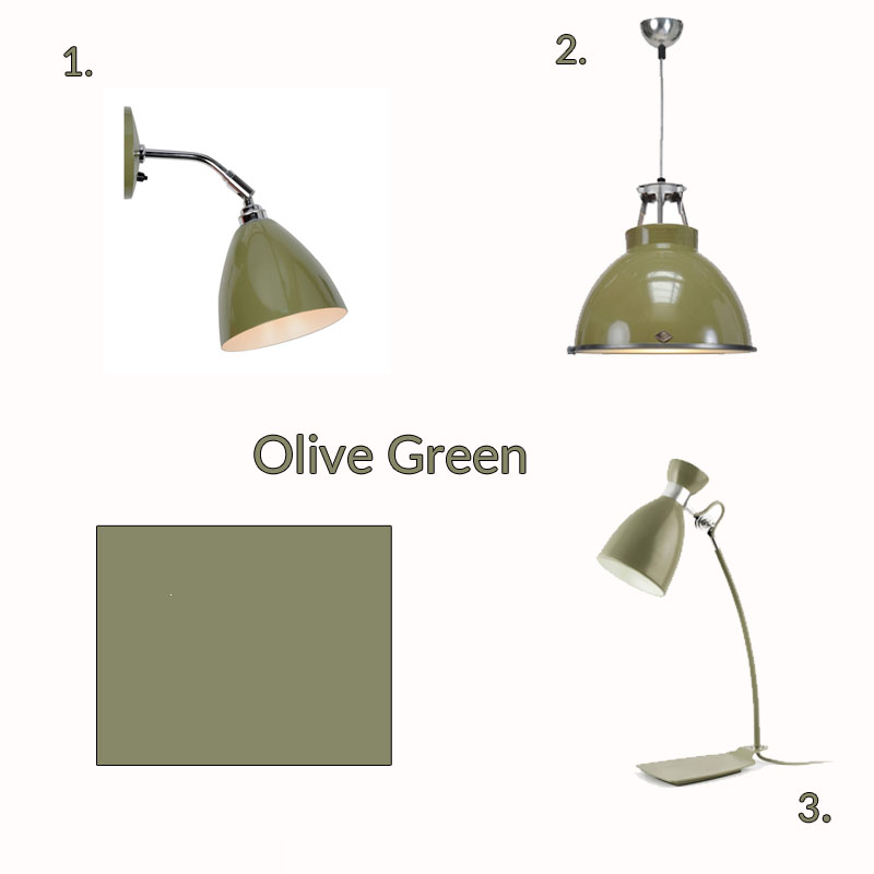 Olive green retro designer lighting collection