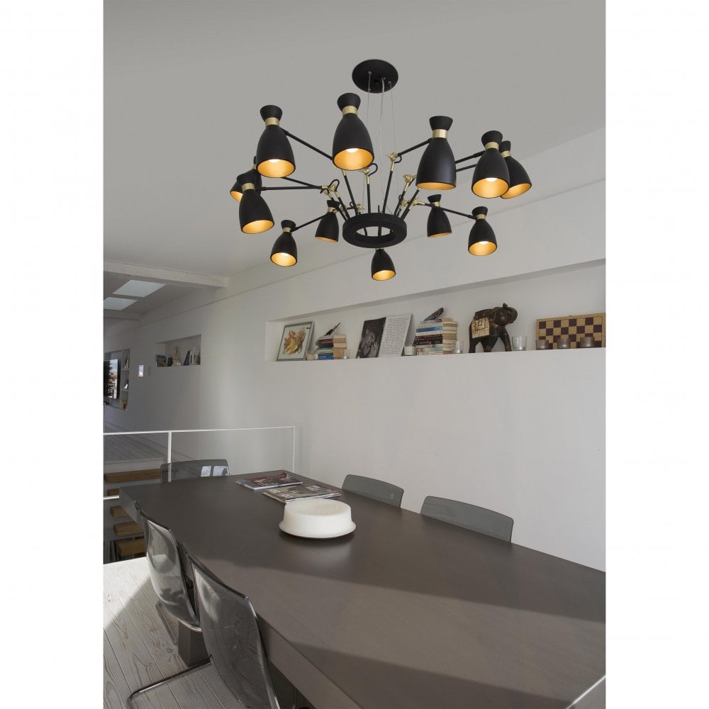 Faro design 12 Light retro black and satin gold pendant