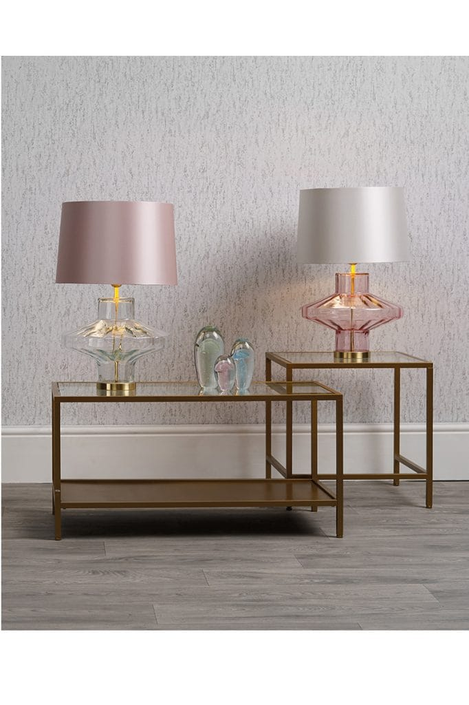 Pink and clear glass table lamps with pink or white shades