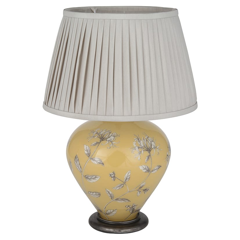 honeysuckle glass table lamp in vintage mustard yellow