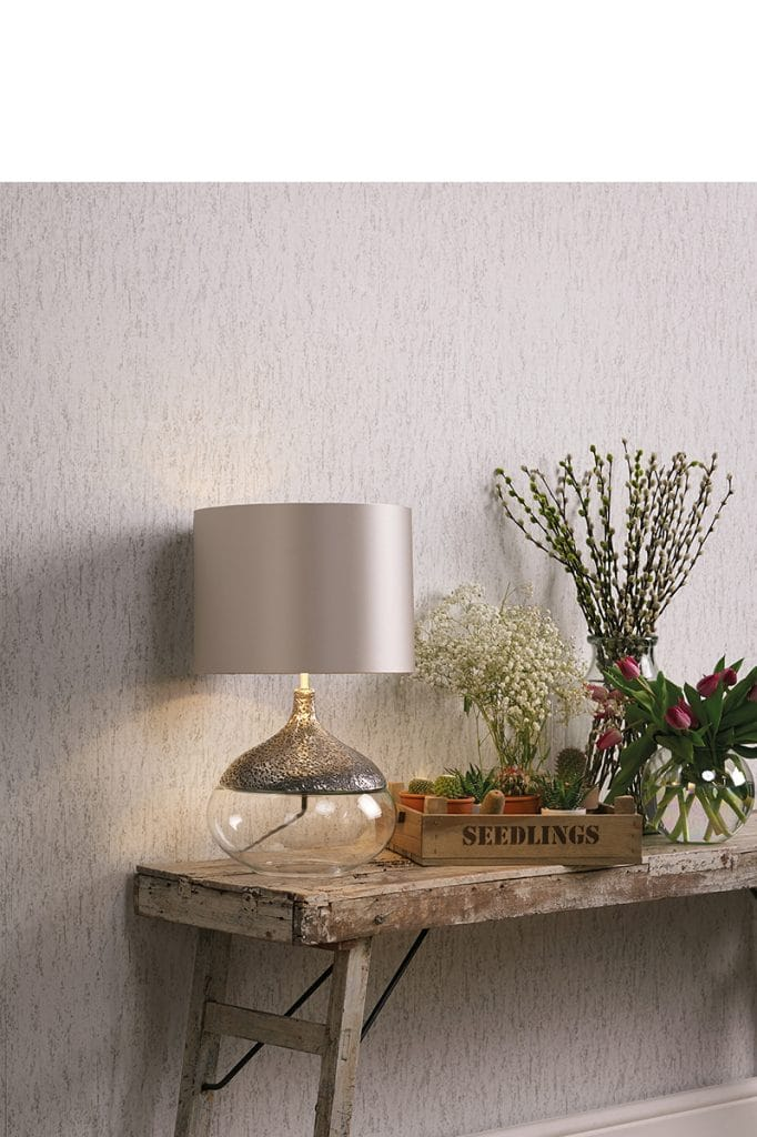cleat glass and textured silver pewter table lamp with silk shade