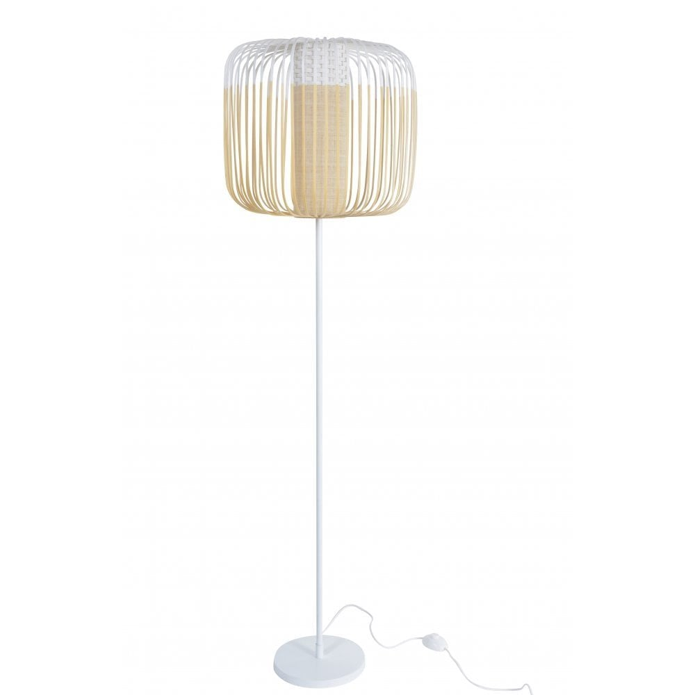 Bamboo Tall White Modern Floor Lamp