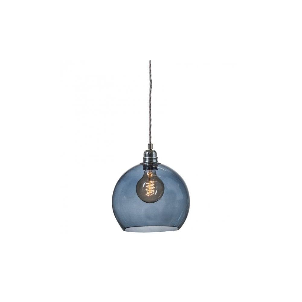 Copenhagen glass collection rowan blue glass ceiling pendant light small size