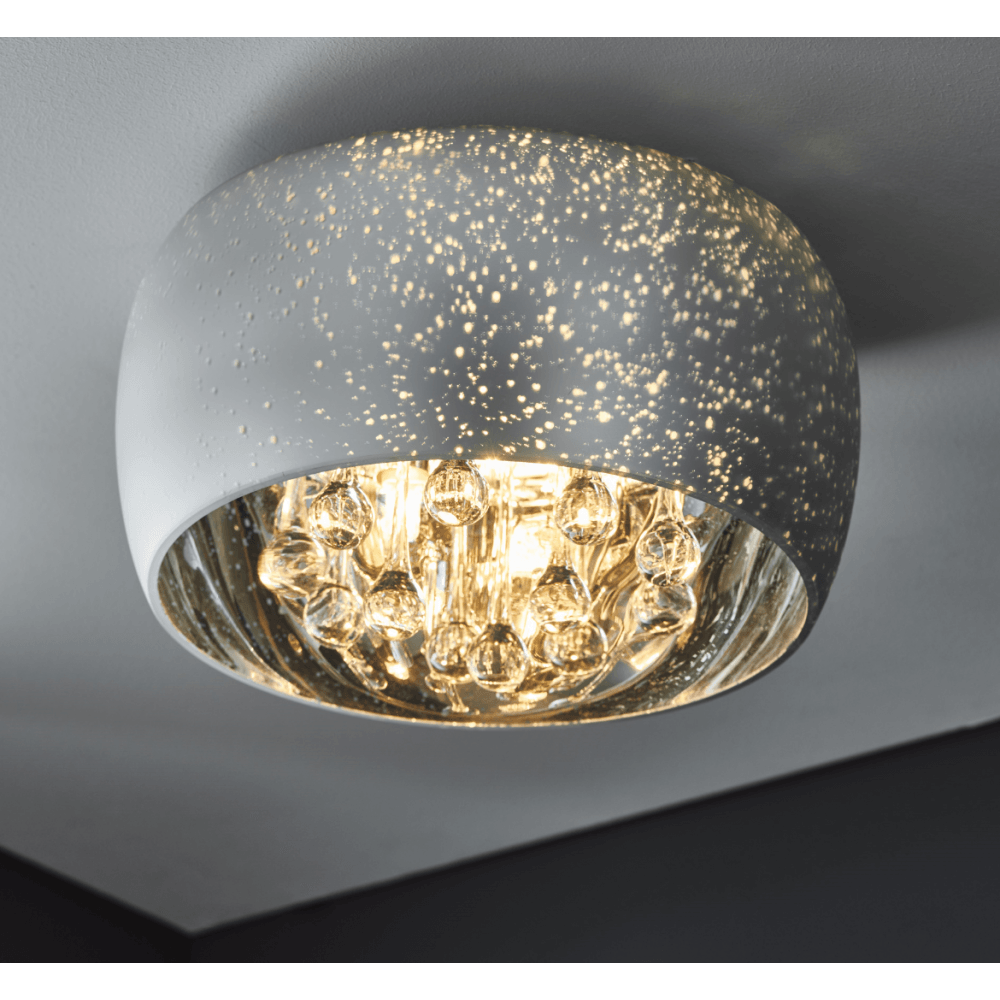 Eclipse Flush Ceiling Light Starry Galaxy Chrome Glass Crystal