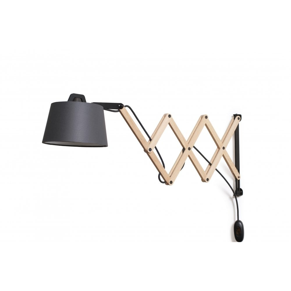 Wall Light With Extending Scissor Action Arm For Flexibility