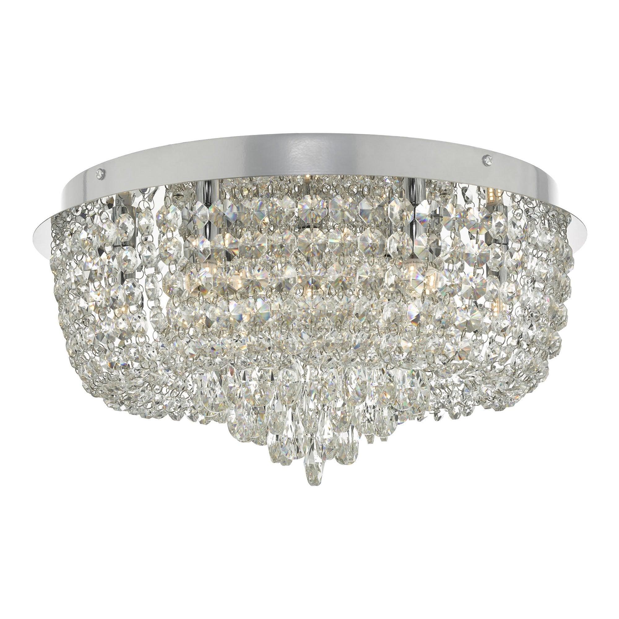 Eitan Semi Flush Ceiling Light 9 Crystal Beaded Polished Chrome