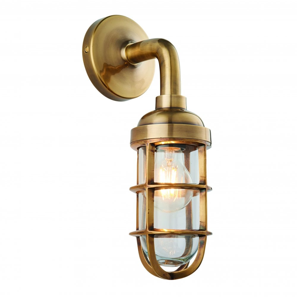 new product e98c5 2948d ELCOT Marine-Industrial Style Wall Light | Solid Burnished Brass & Glass