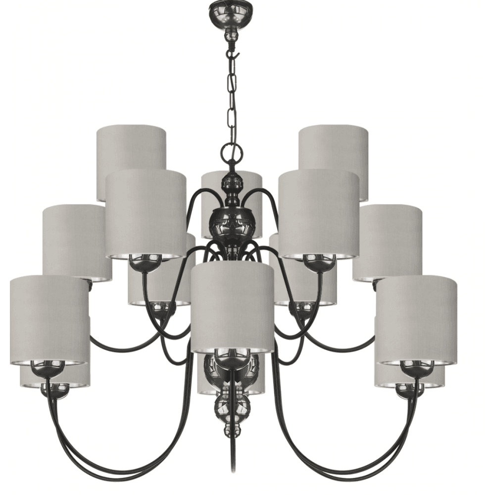 online retailer cf4a9 e293a GARBO Large Ceiling Light in Polished Pewter and Black Shades