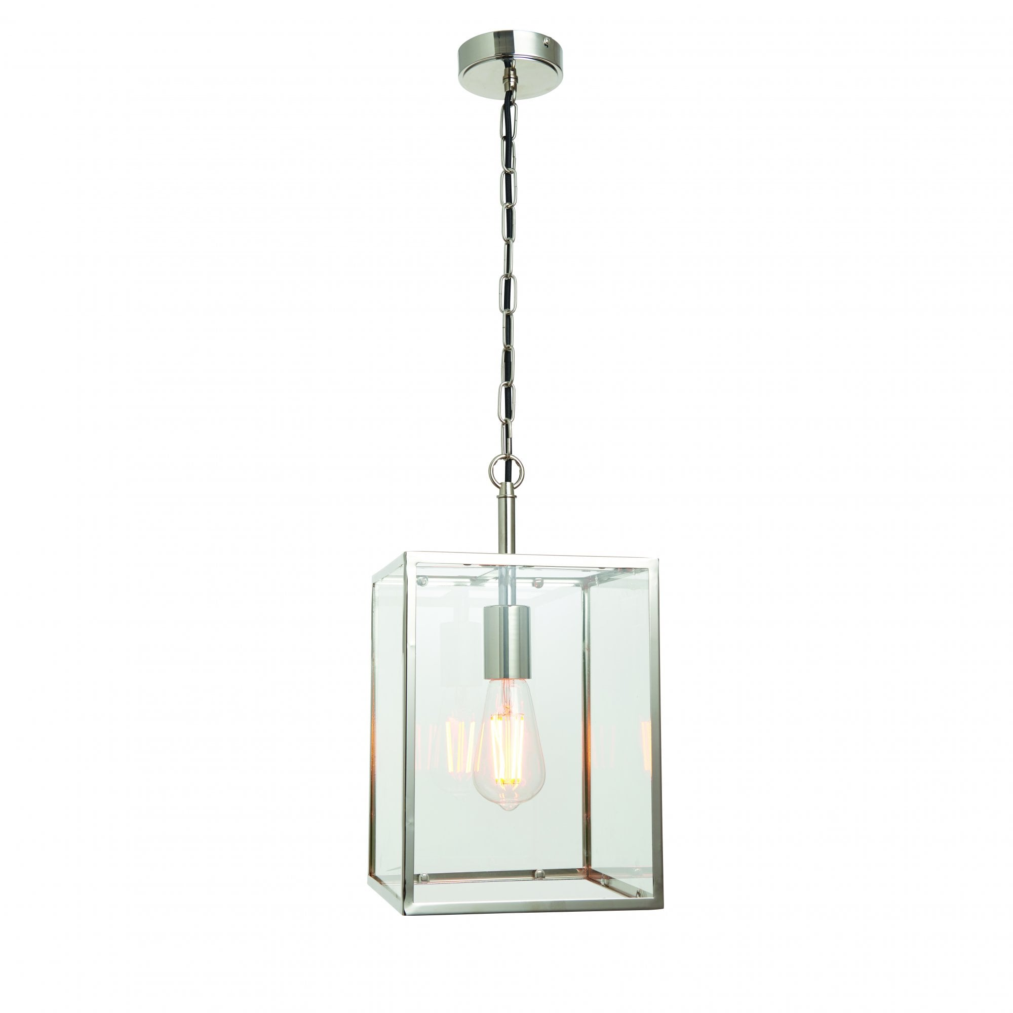 Hadden Ceiling Pendant Lantern Style Nickel Finish Glass