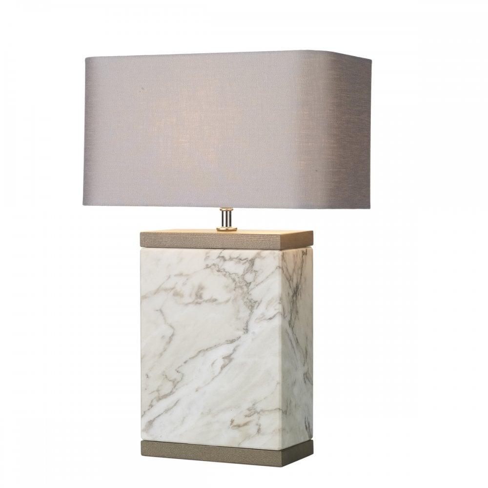 INCA Marble Table Lamp Large/Slate Grey Silk Shade