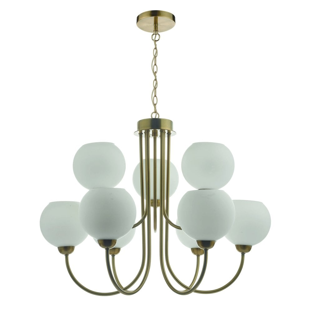 Two Midcentury Chandeliers with Opal Glass & Black & Copper