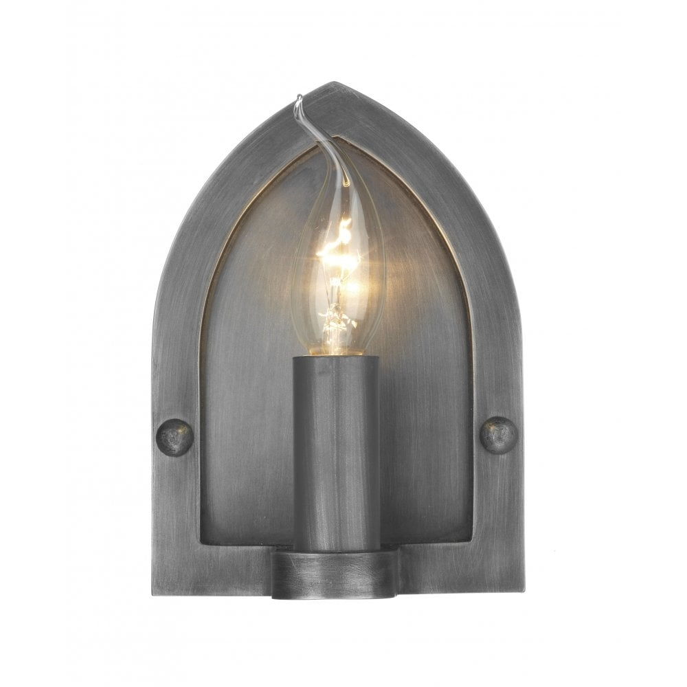 Antique Pewter Wall Light Arts And Crafts Wall Sconce