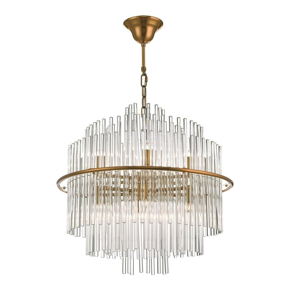 Lukas 13 Light Art Deco Style Ceiling Pendant Antique Gold Glass