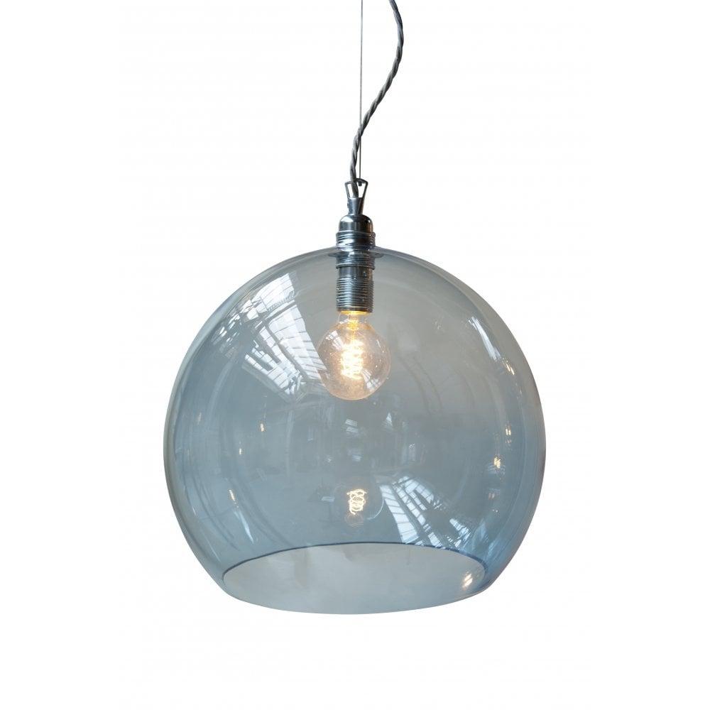 Rowan large blue glass ceiling pendant light