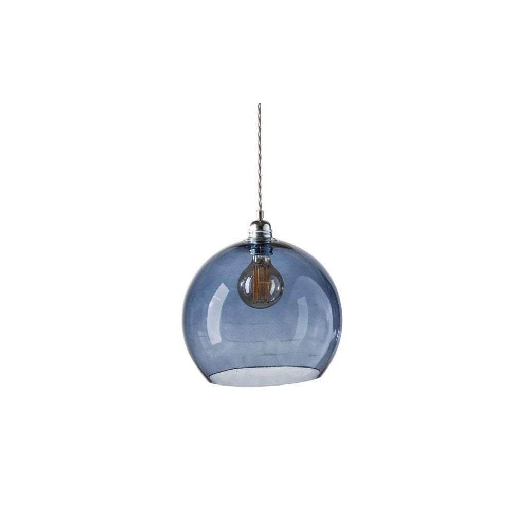 3d1d425f5587 Deep Blue Glass Ceiling Pendant Silver Cable - Designer Lighting UK