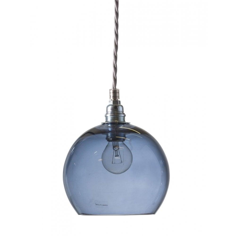 Blue Blown Glass Ceiling Pendant Silver Cable Designer Lighting Uk