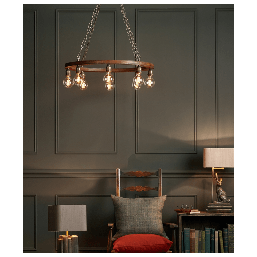 SADDLER CARTWHEEL 8 Light Ceiling Pendant | Replica Leather