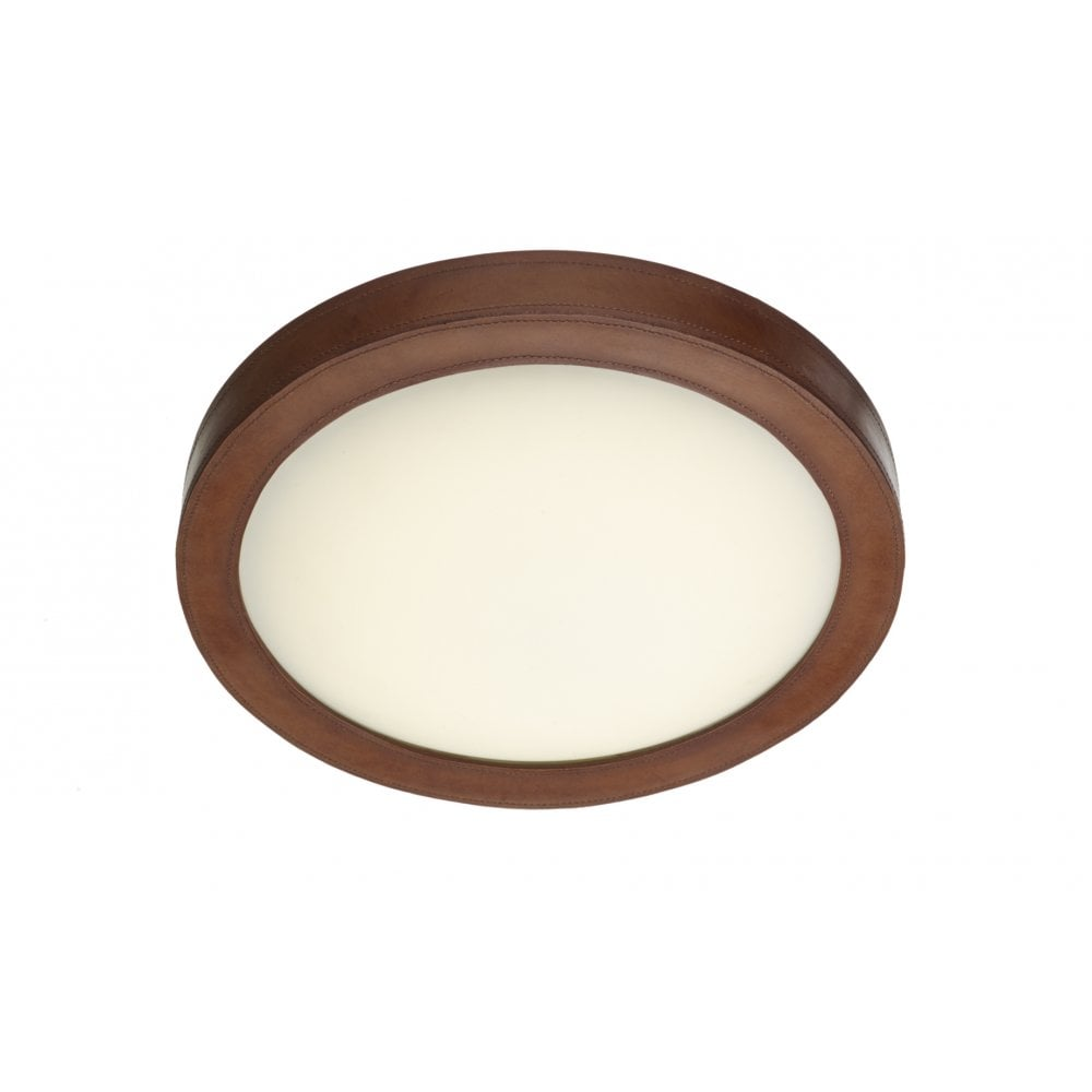 Saddler replica leather ceiling light for low ceilings