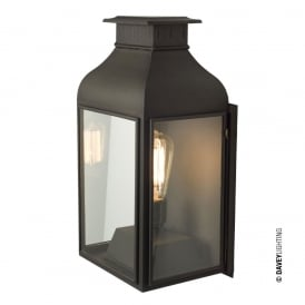 WALL Lantern Weathered Brass, Clear Glass